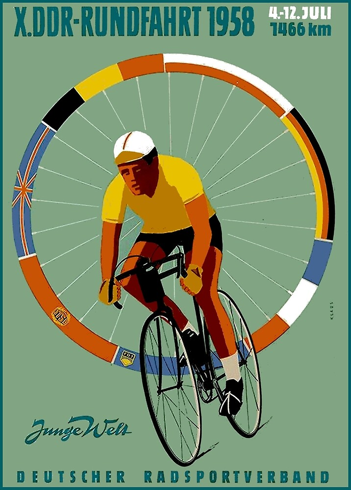 BICYCLE RACING; Vintage German Advertising Print by posterbobs