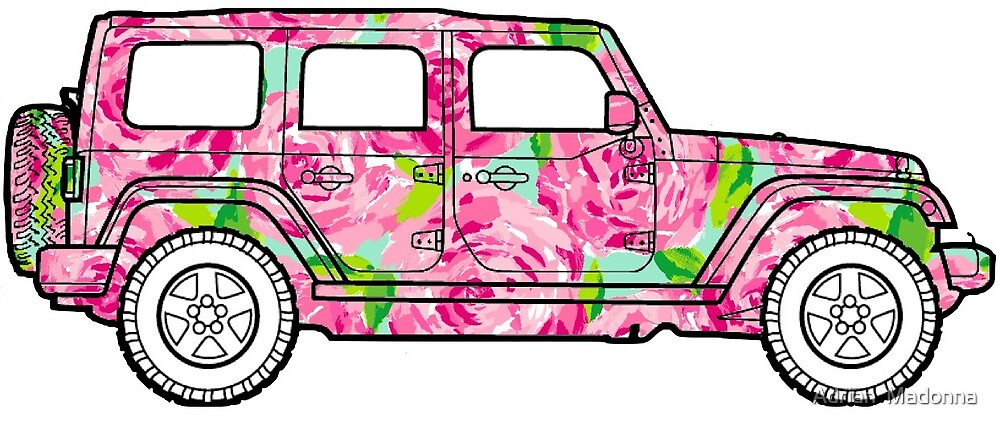 Pink Floral Jeep Decal by Kprepster