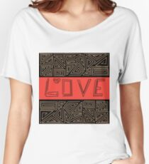 Black and red abstract pattern . Love Women's Relaxed Fit T-Shirt