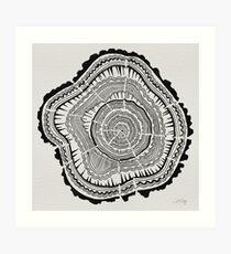 Lámina artística Anillos de árbol - Negro sobre blanco