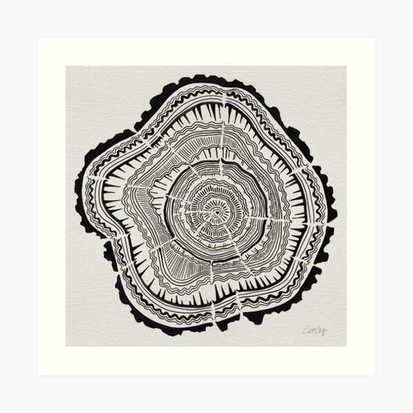 Tree Rings – Black on White Art Print