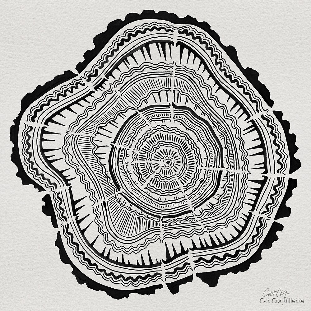 Tree Rings – Black on White by Cat Coquillette