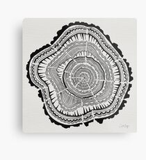 Tree Rings – Black on White Metal Print