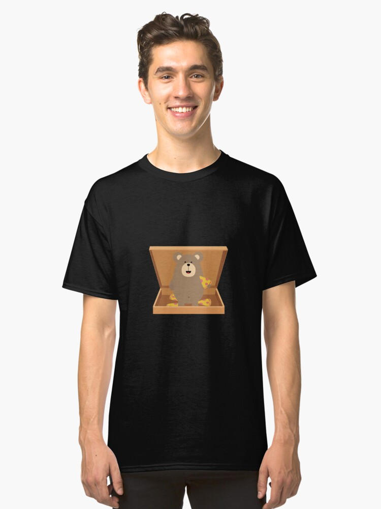 Brown Bear in Pizzabox Classic T-Shirt Front