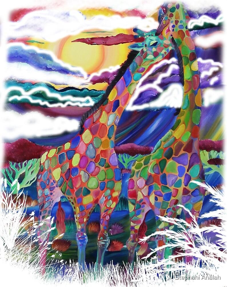 Colorful rainbow kids Giraffe Animal print by Stephani Analah