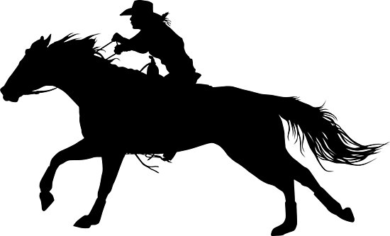 """""""Rodeo Theme - Barrel Racer Silhouette"""" Photographic"""
