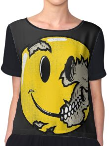 Smiley face skull Chiffon Top