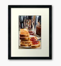 Fried toast with strawberry jam Framed Print