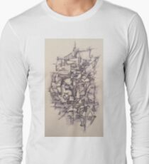 Abstract Pen and Ink Long Sleeve T-Shirt
