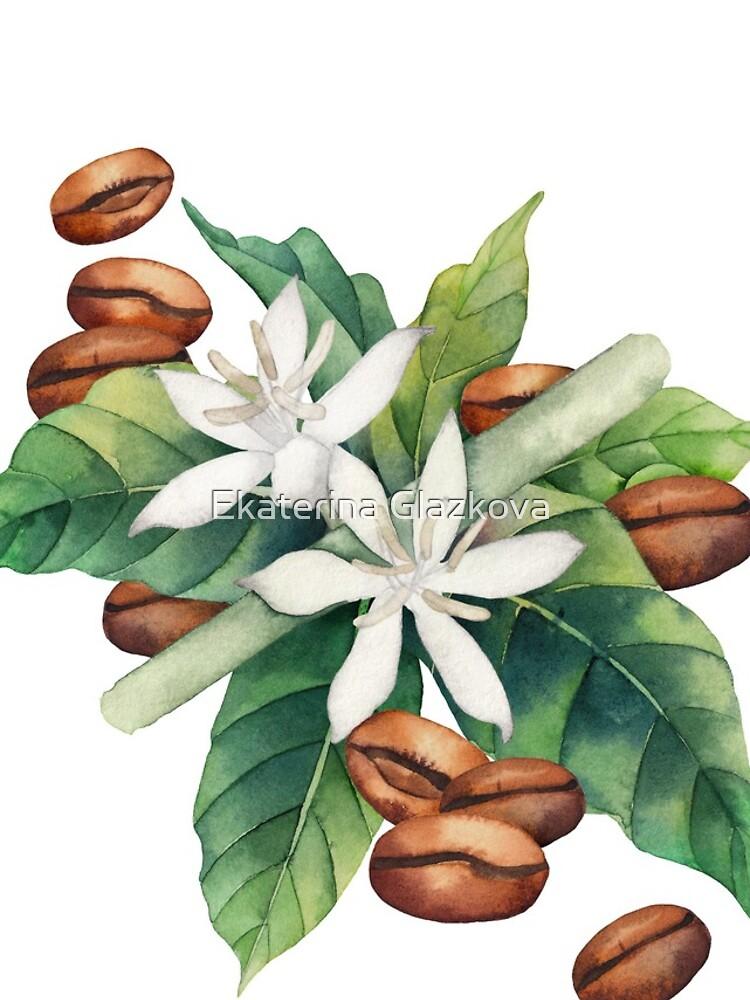 Aquarell Kaffee Vignette von Glazkova