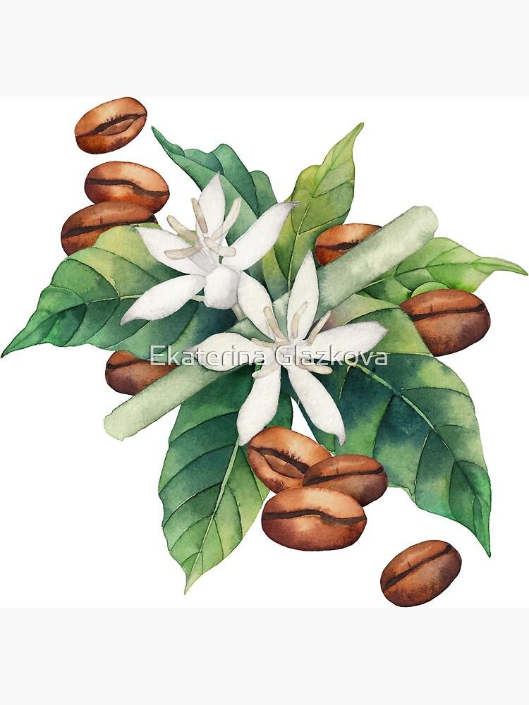 Watercolor coffee vignette by Glazkova