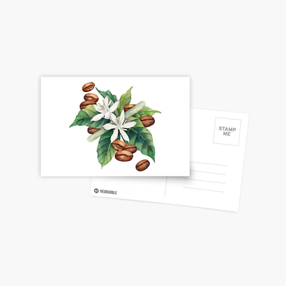 Aquarell Kaffee Vignette Postkarte
