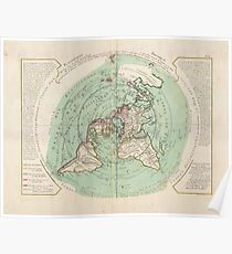 "Flat Earth Map : ""Planisphere Terrestre"" 17th Century Poster"