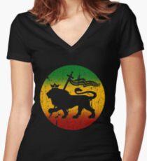 Lion of Judah Rasta Reggae Music Design Women's Fitted V-Neck T-Shirt