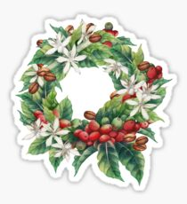 Watercolor coffee wreath  Sticker
