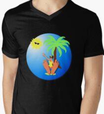 Funny feet 50's retro beach holiday! Men's V-Neck T-Shirt
