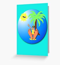 Funny feet 50's retro beach holiday! Greeting Card