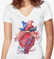 Watercolor heart Women's Fitted V-Neck T-Shirt