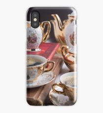 Antique porcelain coffee cups with coffee and crockery iPhone Case/Skin