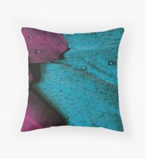 Teal Plum Wet Feather Throw Pillow