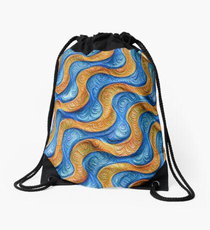 Frozen plasticine liquid lines and waves #DeepDream Drawstring Bag
