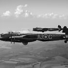 Lancasters AJ-G and AJ-N carrying Upkeeps black and white version by Gary Eason