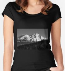 Mount Shasta photograph in Black and White Women's Fitted Scoop T-Shirt