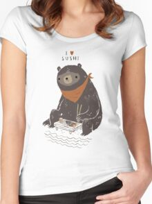 sushi bear Women's Fitted Scoop T-Shirt