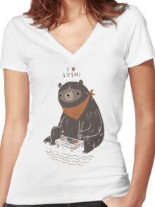 sushi bear Women's Fitted V-Neck T-Shirt