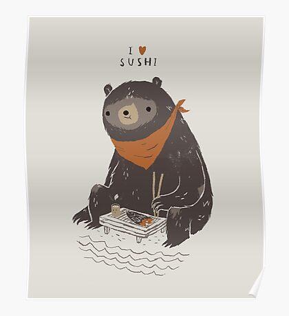 sushi bear Poster