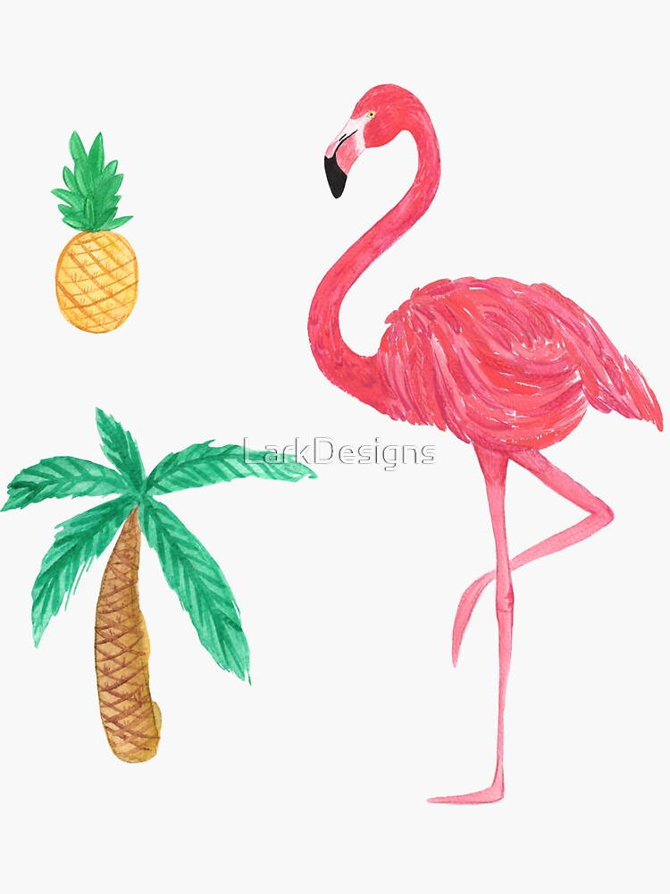 Tropical Trio Flamingo Pineapple Palm Tree by LarkDesigns