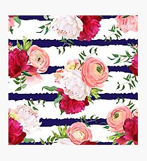 Burgundy red and white peonies, ranunculus, rose seamless vector pattern. Navy striped elegant print with luxury bright flowers Photographic Print