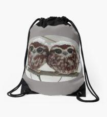 Two happy little owls Drawstring Bag