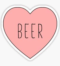 I Love Beer Heart Black Sticker