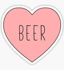 Pegatina Amo el corazón de la cerveza | Variante negra
