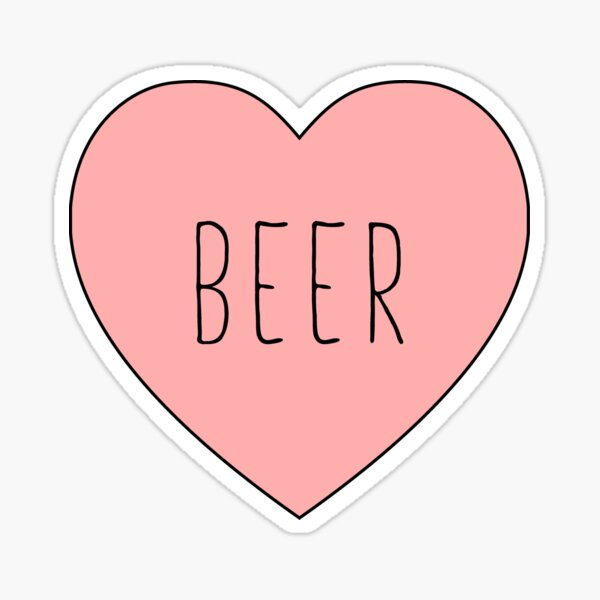 I Love Beer Heart | Black Variant Sticker