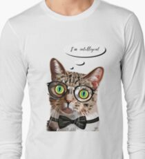 Hand drawn portrait of Cat with glasses and bow tie T-Shirt