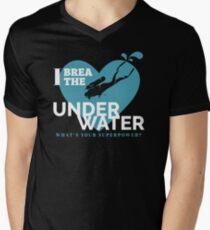 Underwater scuba diving. Deep blue sea t-shirt, quote Men's V-Neck T-Shirt