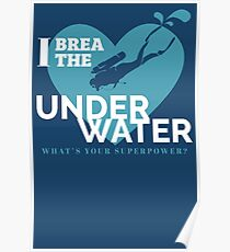 Underwater scuba diving. Deep blue sea t-shirt, quote Poster