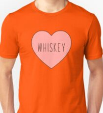 I Love Whiskey Heart White Unisex T-Shirt