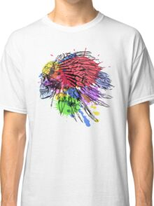 Hand Drawn Native American Indian Feather Headdress With Human Skull Classic T-Shirt