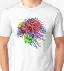 Hand Drawn Native American Indian Feather Headdress With Human Skull Unisex T-Shirt
