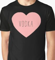 I Love Vodka Heart Black Graphic T-Shirt