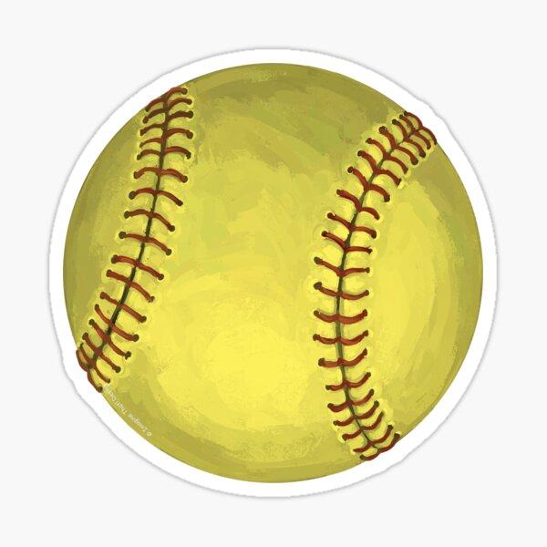 Painted Softball Art Sticker