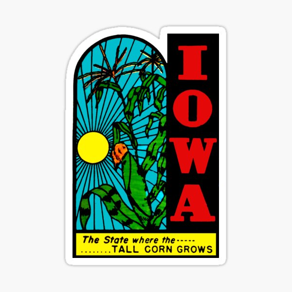 Iowa IA State Tall Corn Vintage Travel Decal Sticker
