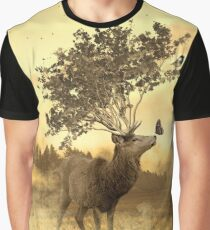 Deer with tree and butterfly fairytale illustration Graphic T-Shirt