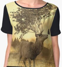 Deer with tree and butterfly fairytale illustration Women's Chiffon Top