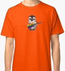 Baby Penguin Playing Gay Pride Rainbow Flag Guitar Classic T-Shirt