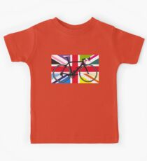 Bike Flag United Kingdom (Multi Coloured) (Big - Highlight) Kids Tee