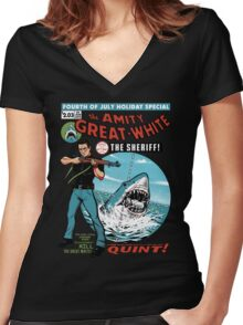The Amity Great White Women's Fitted V-Neck T-Shirt